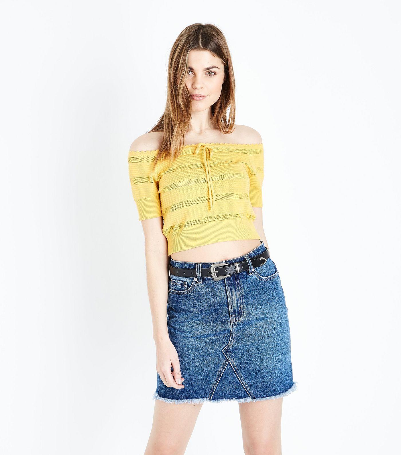 a956abe42db5d Yellow Pointelle Stripe Bardot Top
