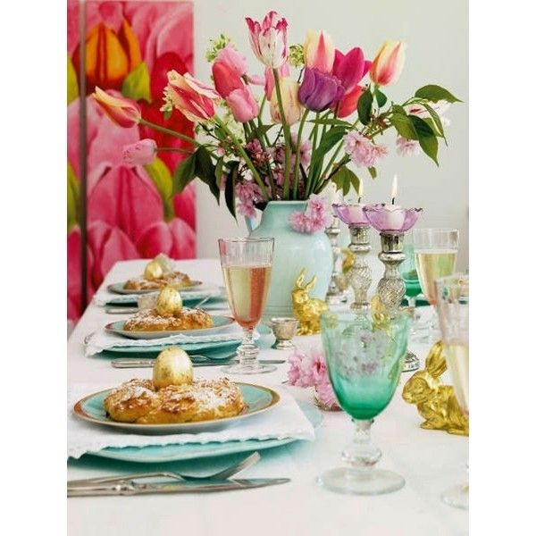 Creative Brunch Table Setting Ideas for Mother's Day ❤ liked on Polyvore featuring backgrounds