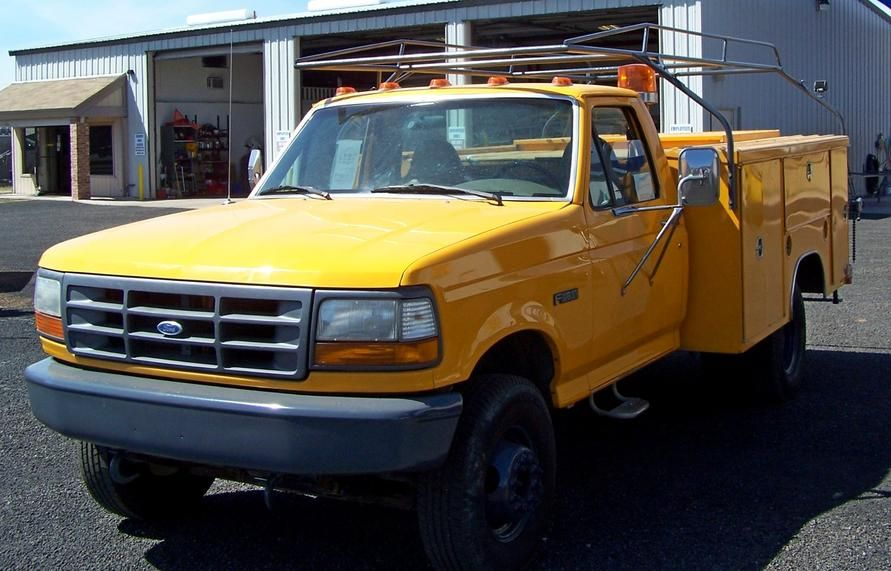 1997 Ford F450 Dual Wheel Utility Body With Lockable Cargo Area City Owned Since New Only 64 000 Miles Trucks For Sale Utility Truck Ford