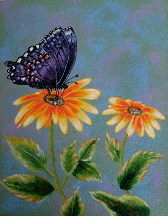Acrylic Paintings Flowers Butterflies images | Alzhiemer ...