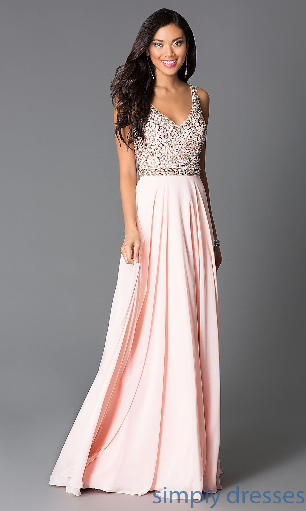 Long Beaded Sleeveless Pink Prom Dress | Dress formal, Dress casual ...