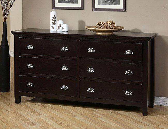 Graceful Dark Wood Dresser With 6 Drawer Ideas