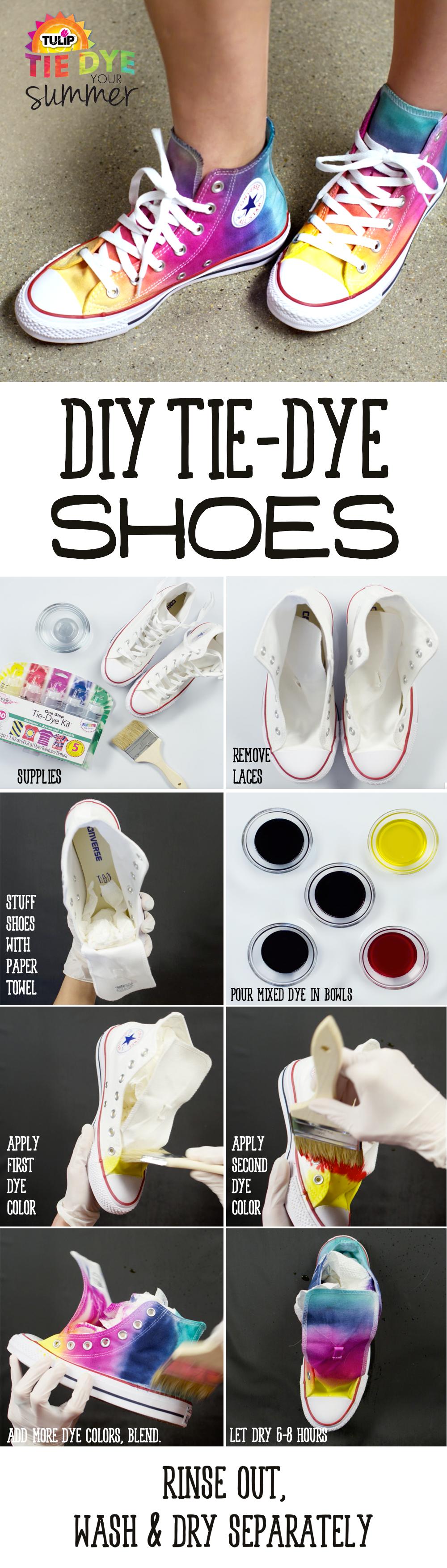 tie-dye sneakers - diy summer - tie die tutorial | moore: tie dye