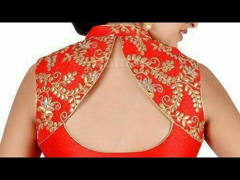 bfe6f0abbf9ef9 Back neck design with collar for blouse| designer back neck with collar  easy tutorial - YouTube