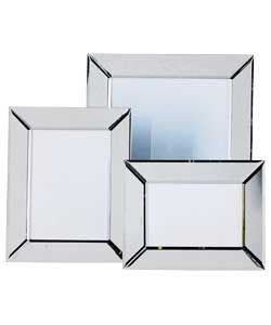 living set of 3 bevelled edge mirrored glass photo frames 1999