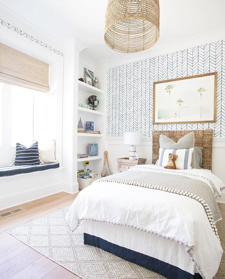 Unique Bedroom Ideas Preserving The Cozy Vibe In Style: Gorgeous Blue Geo Wall Paper, Coastal Farmhouse Bedroom