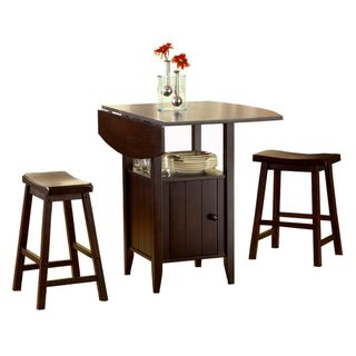 Bernards Wenge Drop 3 Piece Leaf Pub Table Set With Stools (Wenge Drop Leaf  Pub Table With Stools   3 Pc)