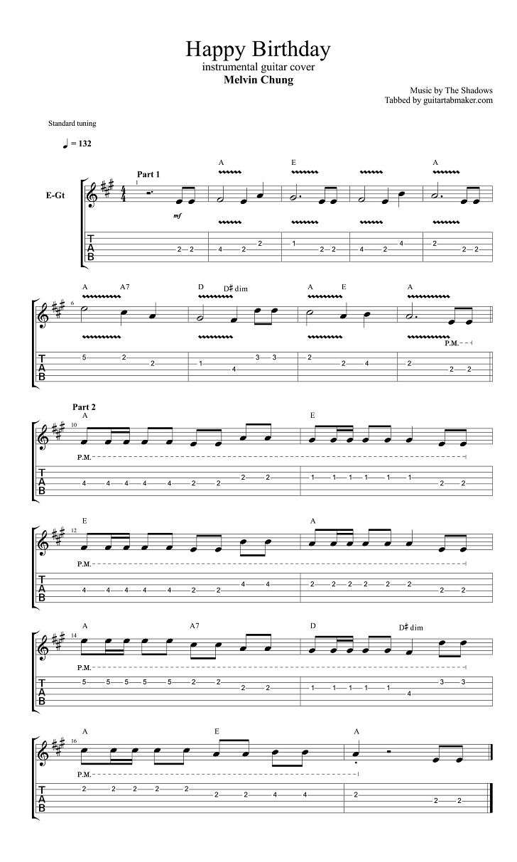 The Shadows Happy Birthday guitar tab instrumental