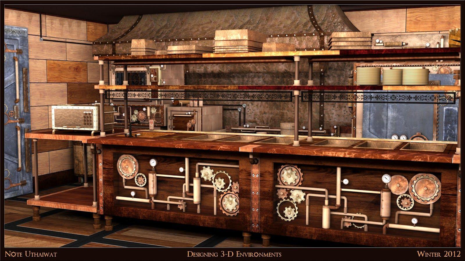 3 D Design For Industrial Steampunk Kitchen Steampunk Kitchen Modern Maple Kitchen Kitchen Plans