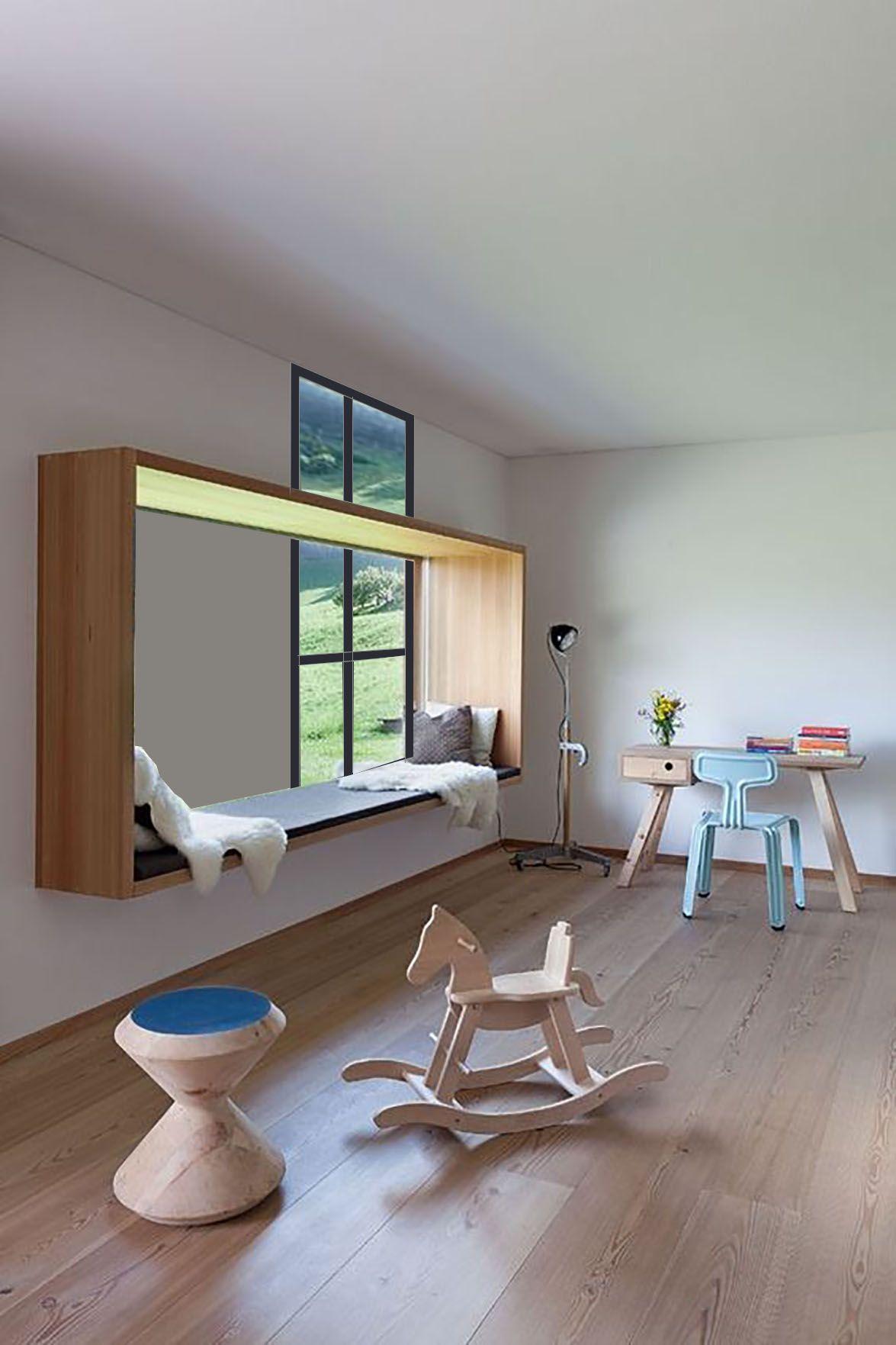Bed on bay window  shelfwindow seat misaligned with window schets vensterbank nis