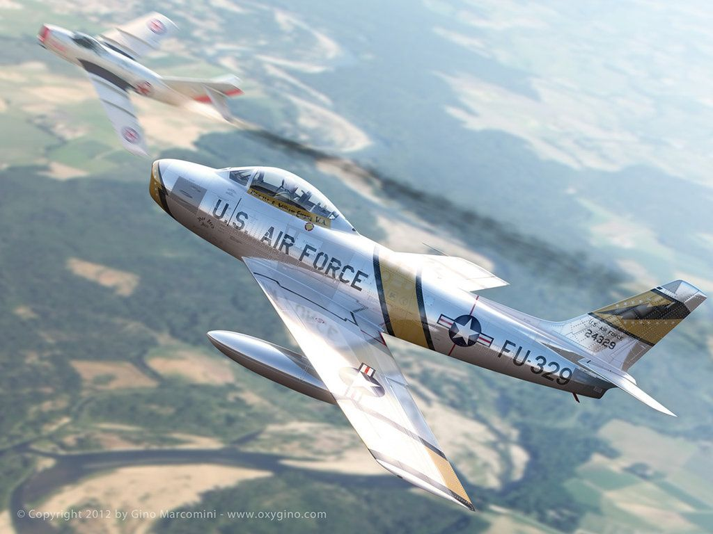 Обои painting, ww2, jet, Airplane, aviation, North american f-86d sabre, war, jet. Авиация foto 17