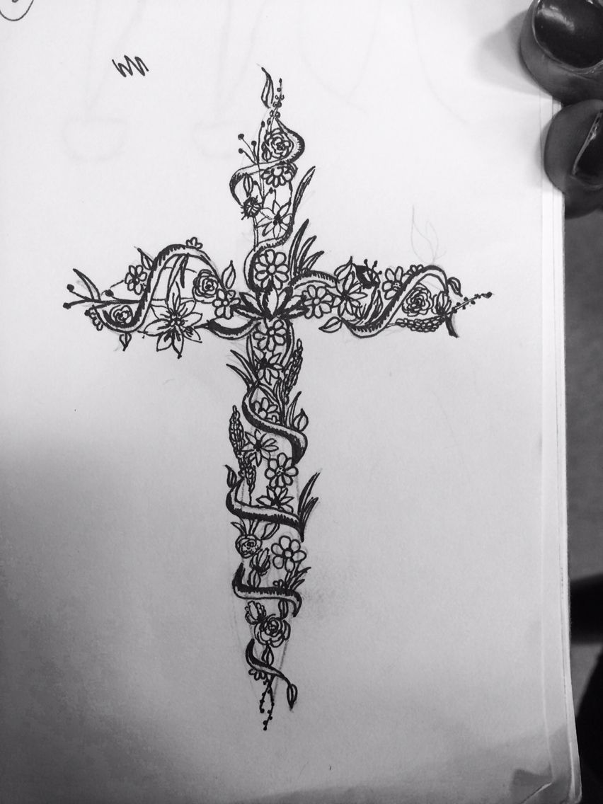A cross tattoo done by madison metivier tattoo floral for Flower cross tattoo
