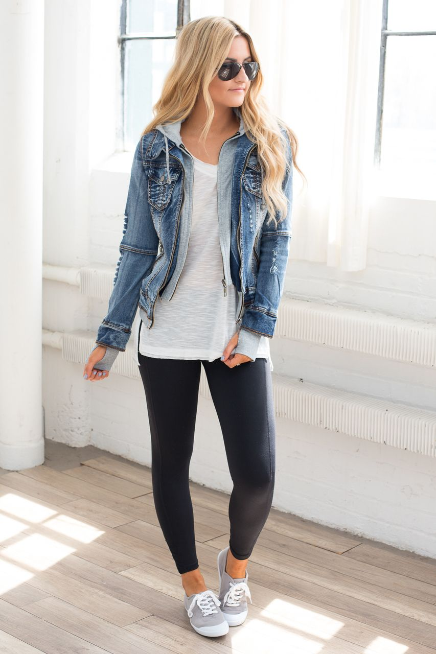 Sweatshirt Hooded Denim Jacket Medium Wash Outfits With Leggings Jacket Outfits Casual Outfits [ 1280 x 853 Pixel ]