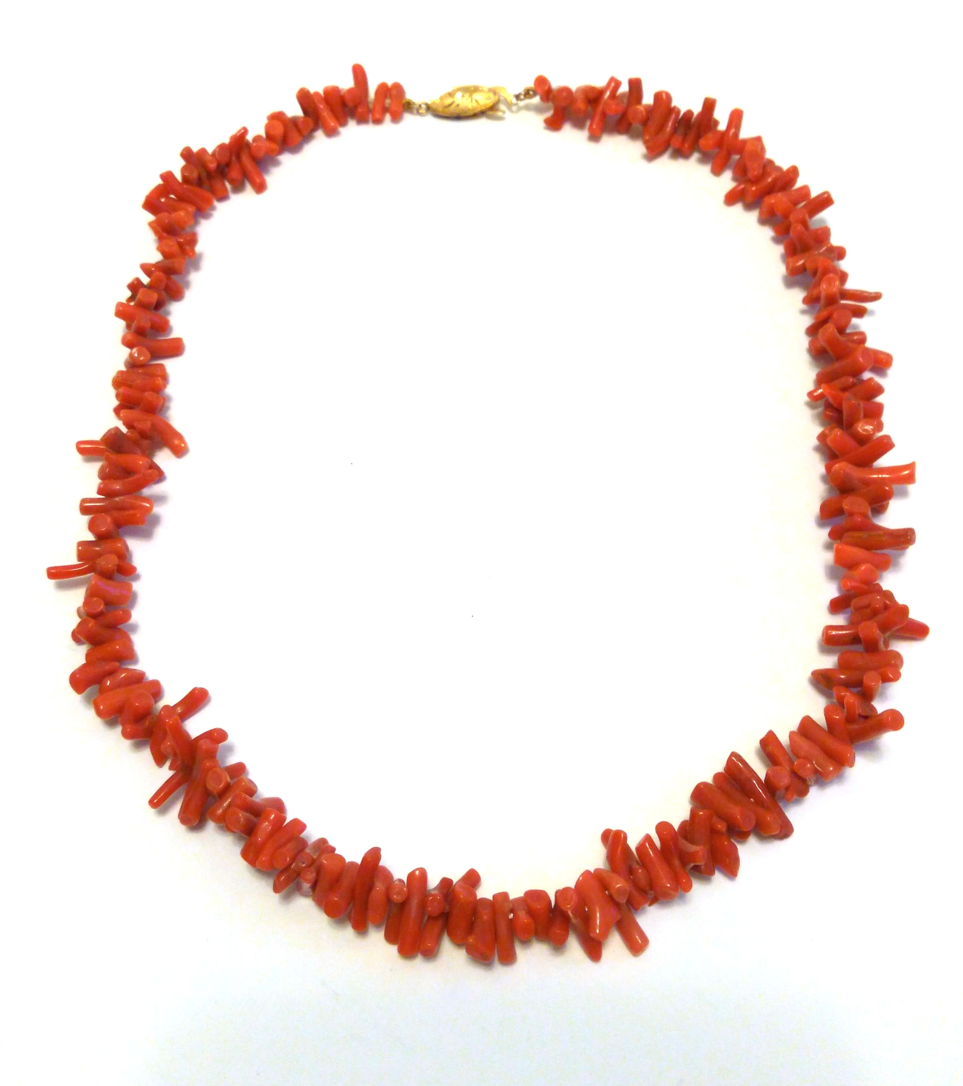 Branch Coral Pearl Necklace, Vintage 30 Inch Mediterranean Branch Coral