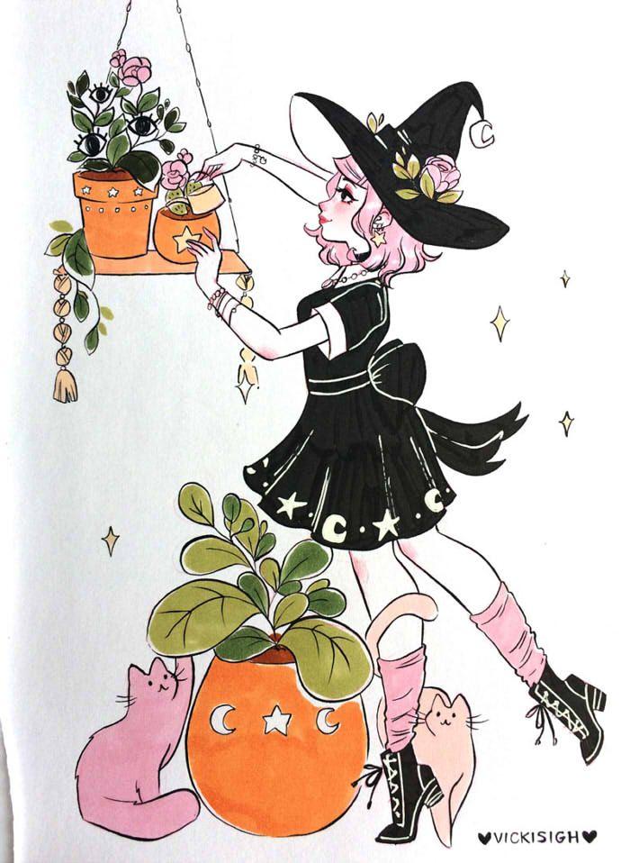 Vicki On Twitter Cute Art Witch Art Art