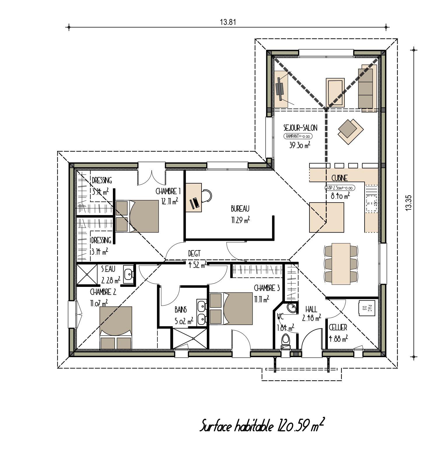 Plan maison moderne de plain pied ancien projet n 18 for Maison moderne plain pied