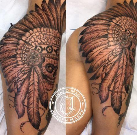5f88e1d0f Joseph haefs tattoo @josephhaefstattooer Thigh butt ass hip tat Tattoo  Indian Native american Head dress