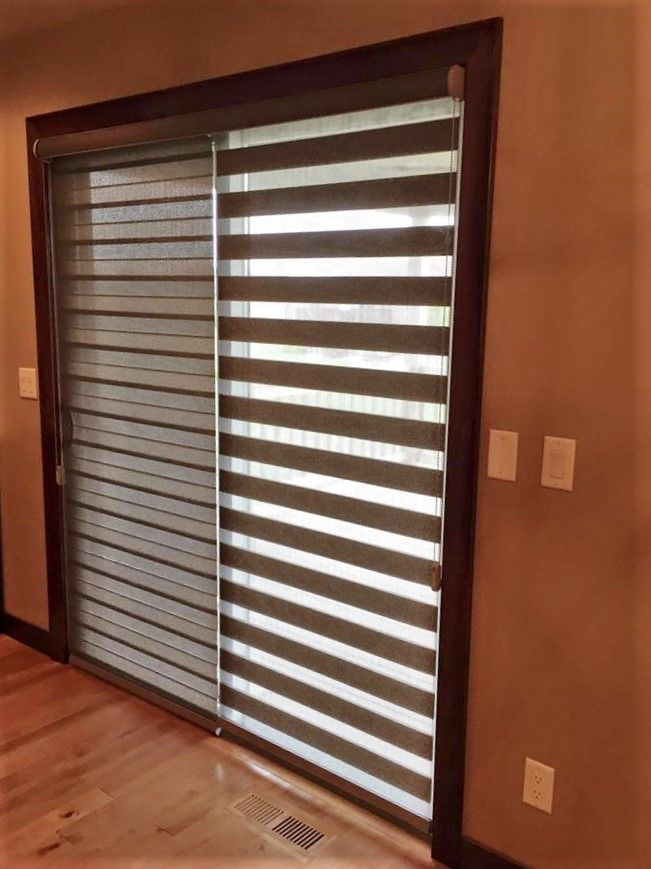 Illusion Shades On Patio Doors Are A More Sleek Alternative To Vertical Blinds Patiodoor Illusions Illusionsh Sliding Door Blinds Door Blinds Budget Blinds