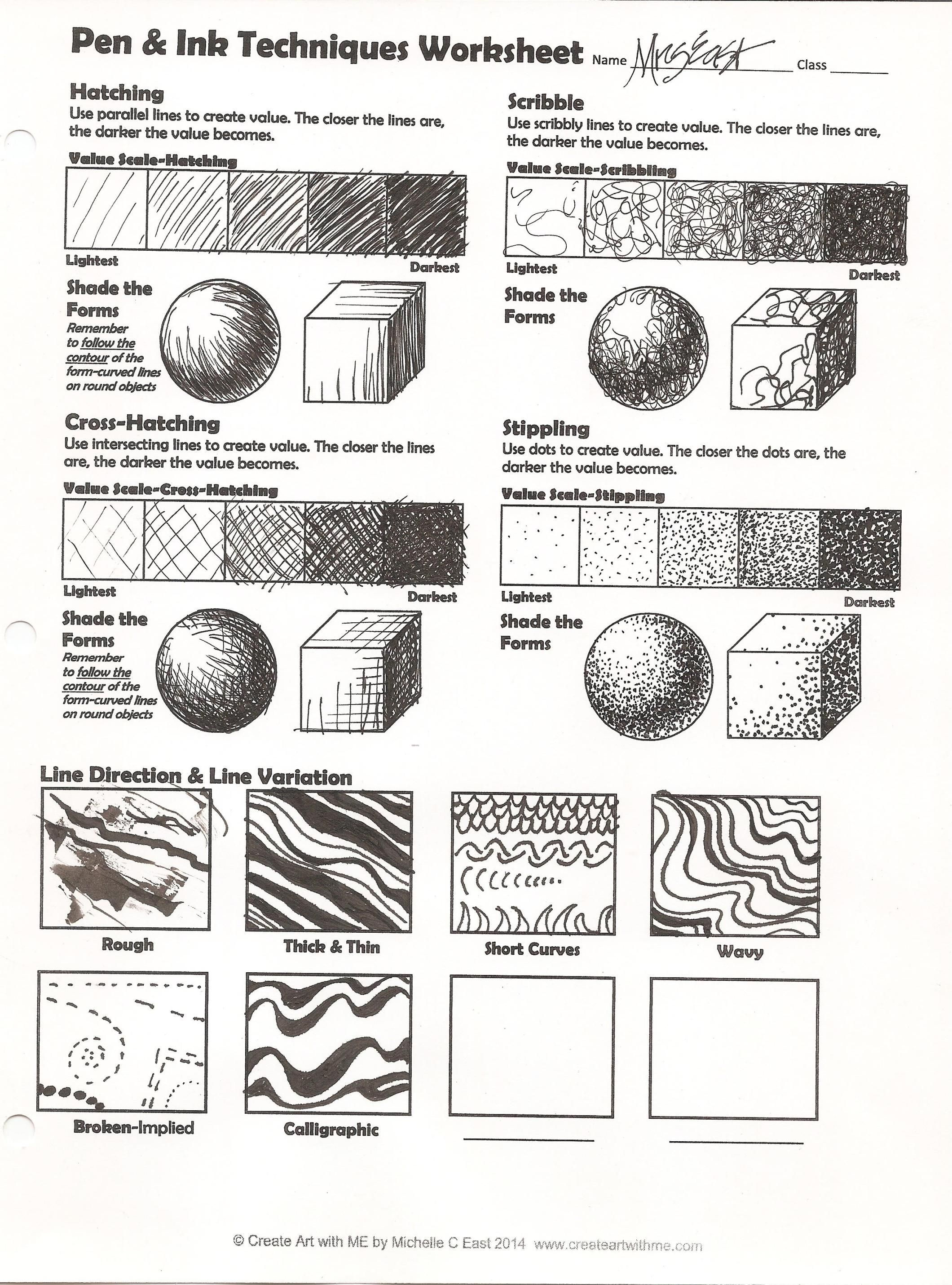 pen ink techniques lesson plan worksheet teaching in 2019 art worksheets drawings. Black Bedroom Furniture Sets. Home Design Ideas