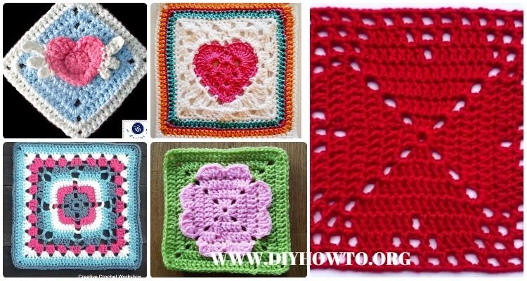 Collection of Crochet Heart Granny Square Free Patterns & Tutorials ...
