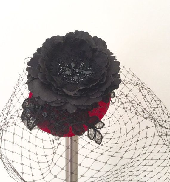 Cocktail hat, cherry red satin bow. Other colours available to order. £40.00