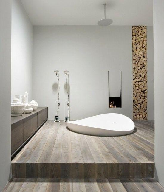 Wohnideen badezimmer kamin badewanne pure me pinterest bathroom minimalist bathroom en - Badezimmer strand look ...