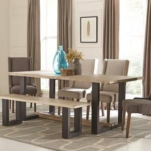 Weathered Sand Mango Wood 80 Inch Dining Table With Bench And 4 Demi