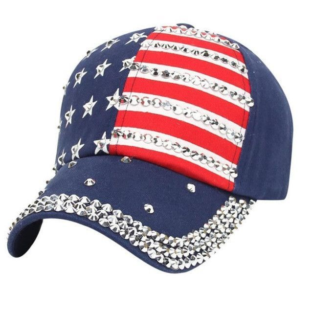 USA Rhinestone American Flag Blue Baseball Cap from L. Shop more products  from L. Skateshop on Wanelo. 16a78b60942e