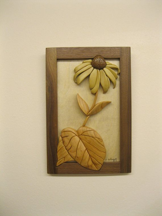 Black Eyed Susan, intarsia hand carved by RAKOWOODS, hanging wall ...