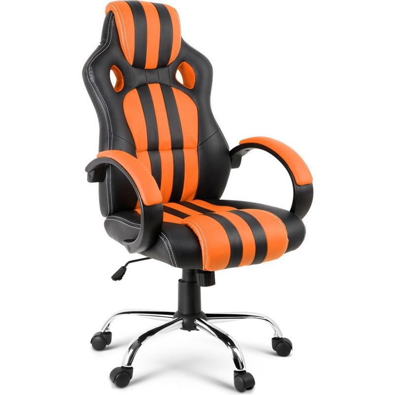Pu Leather Mesh Racing Office Chair Orange Stripe Office Chair