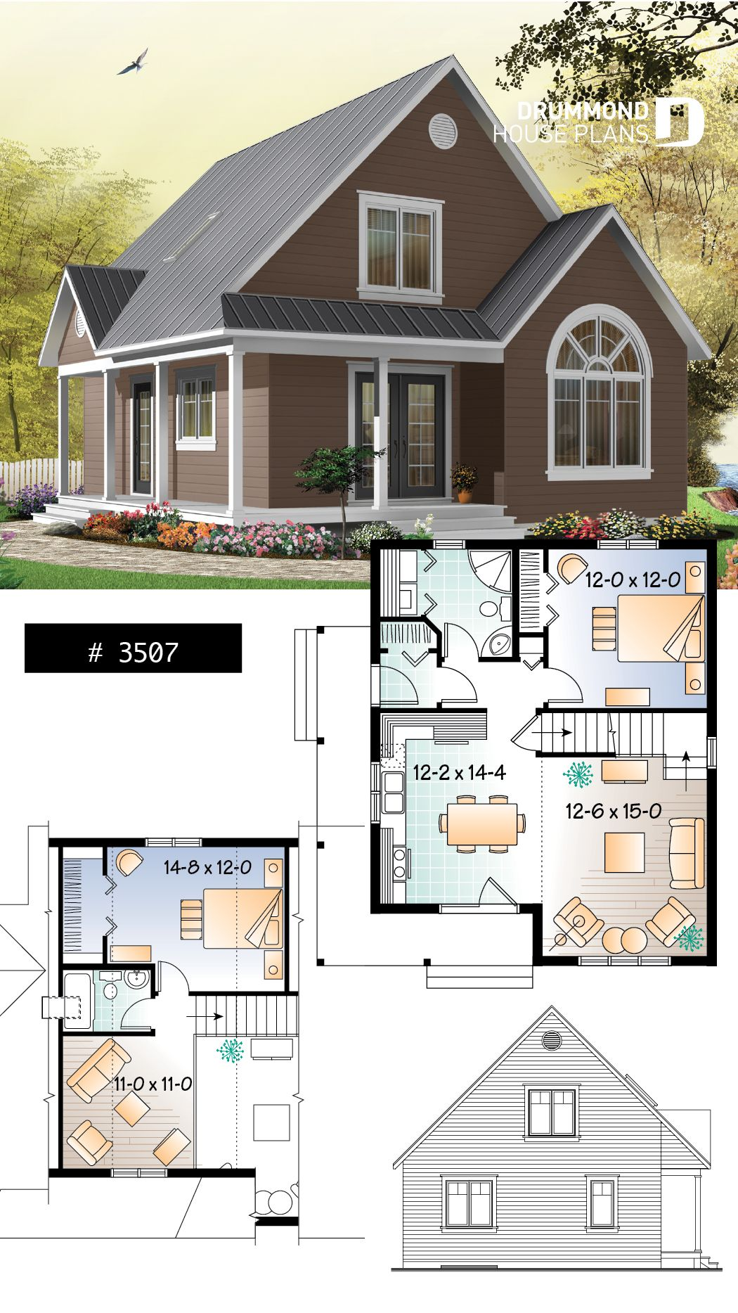 Discover the plan 3507 Celeste which will please you for its 2 3 bedrooms and for its Country styles