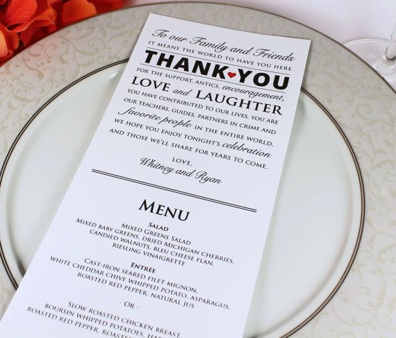 Wedding Reception Menu and Thank You Card Combo - Wedding Menu Card ...
