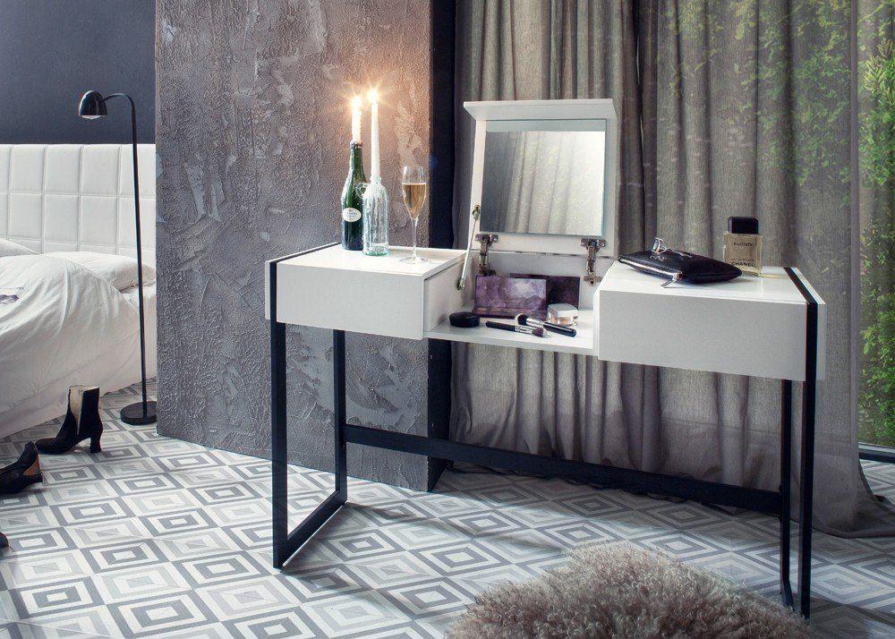 Schlafzimmer Schminktisch ~ Schminktisch benno mit schubladen klappe mit spiegel weiß