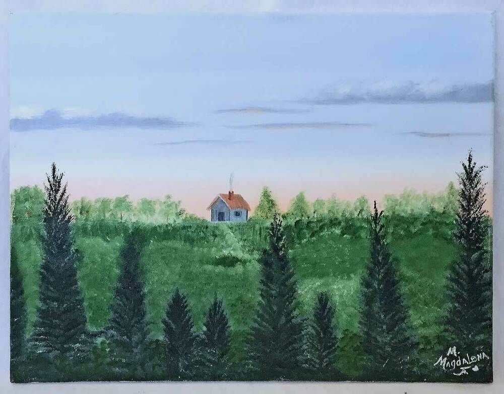 Details About Folk Art Vintage Painting Lonely House High Country