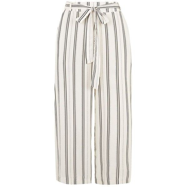 White Tie Waist Stripe Culottes ($15) ❤ liked on Polyvore featuring pants, capris, trousers, culottes, pantalones, shorts, flared trousers, striped trousers, vertical stripe pants and white flared pants