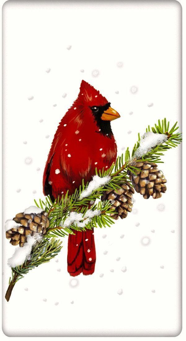 Christmas Cardinals Clipart.Snowy Christmas Cardinal 100 Cotton Flour Sack Dish Towel