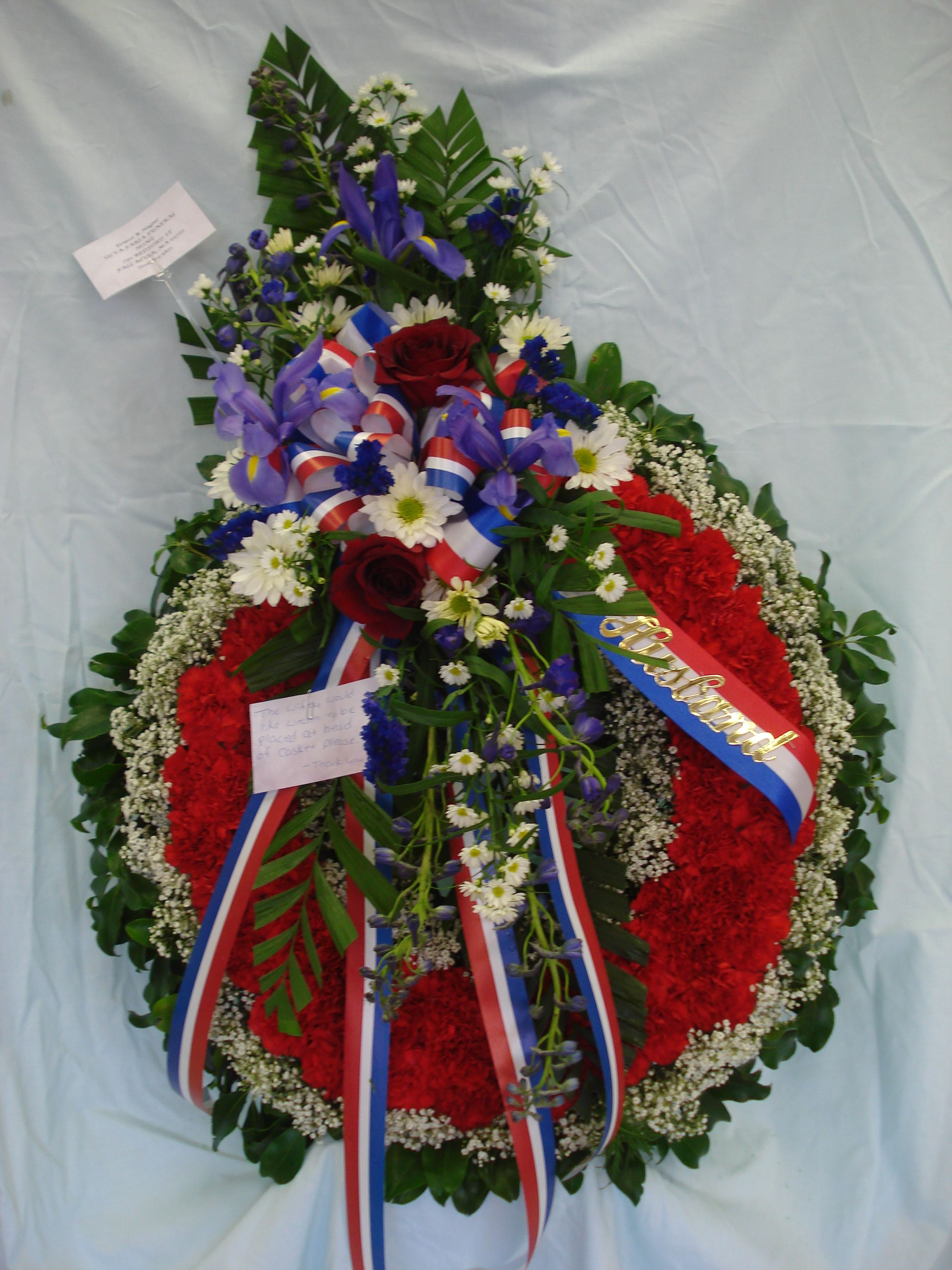 Military Tribute Perfect For Veteran Funeral Red And White Wreath