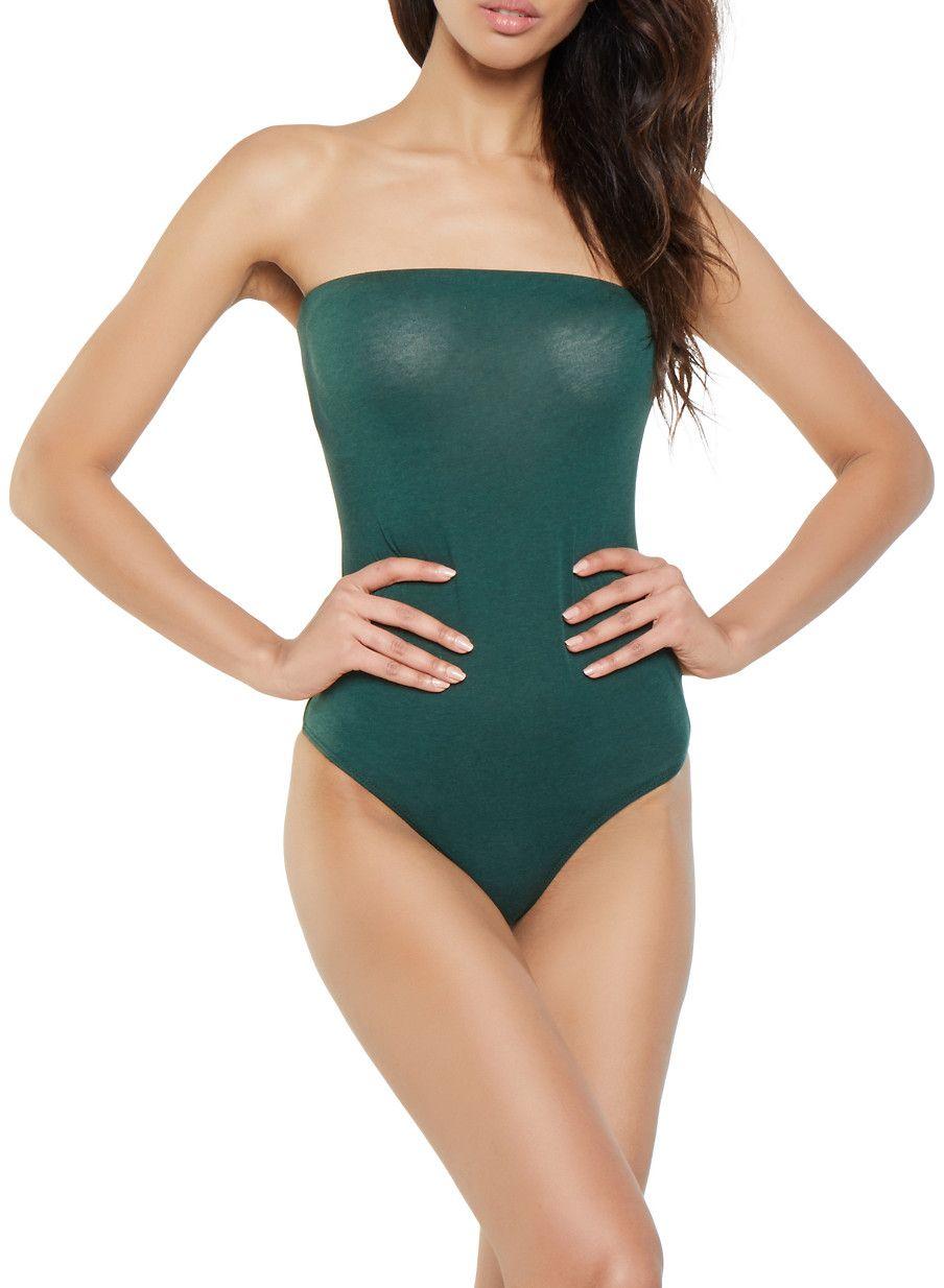 e4227776fd4 Strapless Bodysuit - GREEN - Size L