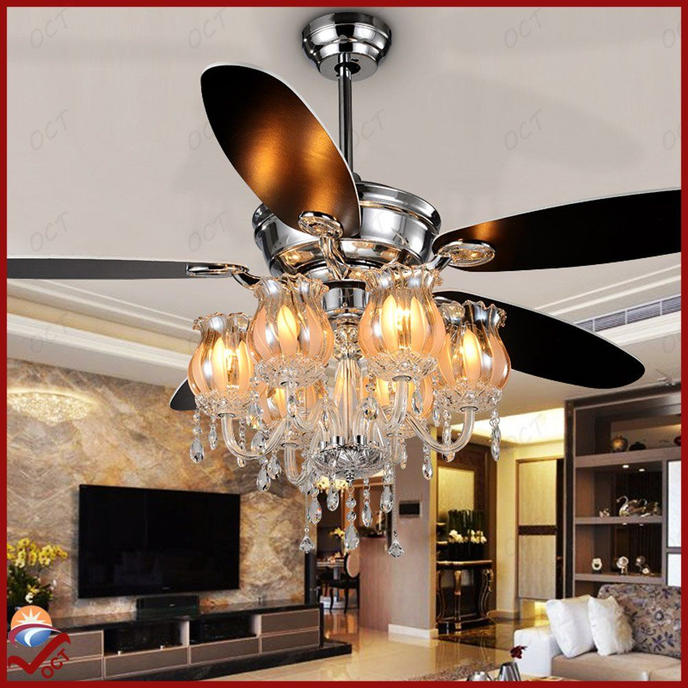 Oct original design indoor crystal pendant lights chrome brushed remote controlluxury flower crystl lampshade modern chandelier 56 inch 5 blades 6 led bulbs ceiling lamps nordic ikea ceiling fan lights luxury ceiling aloadofball Image collections