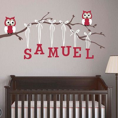 Alphabet Garden Designs Boy Owl Branch Wall Decal Branch Direction: Left,  Decal Fabric Color