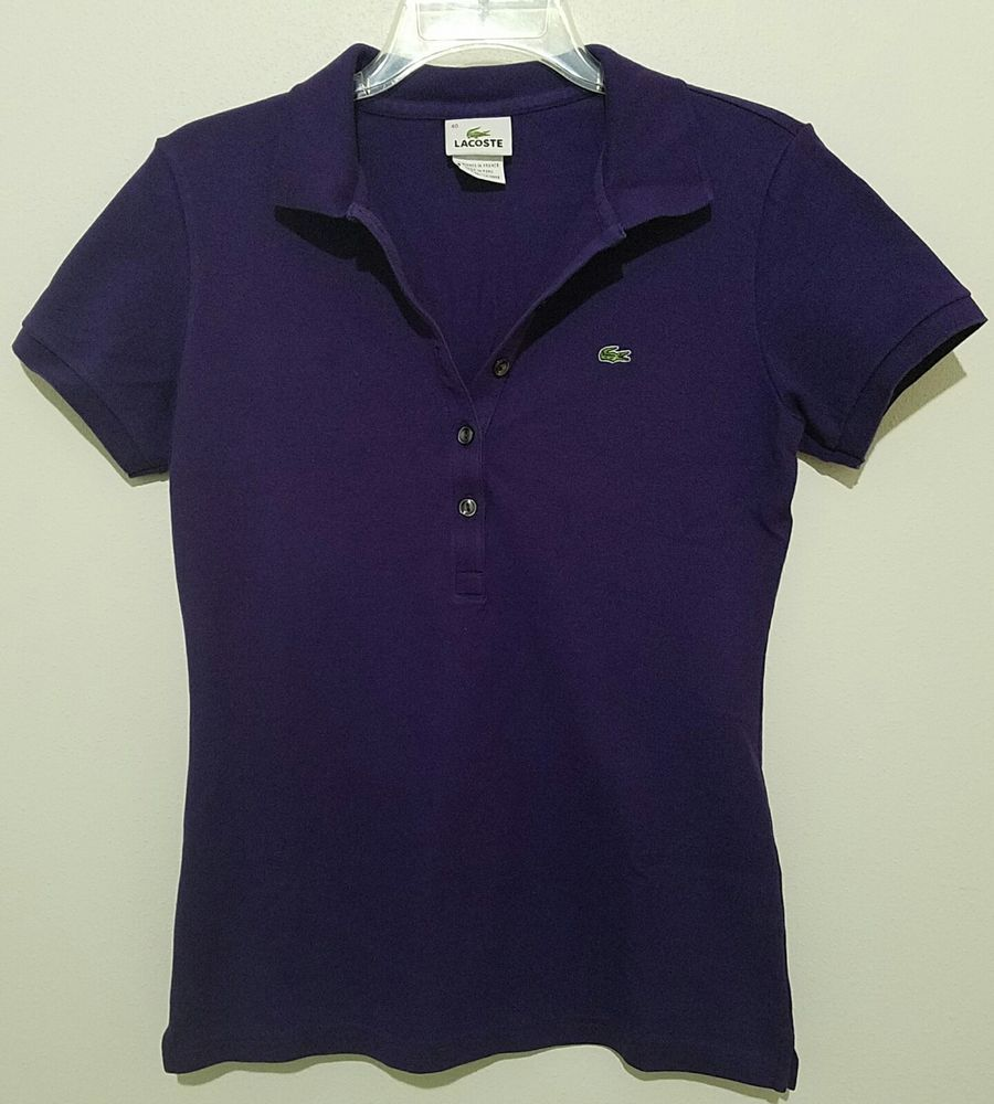 Lacoste 5 Button Polo Shirt Womens Size 40 Size 8 Short Sleeve