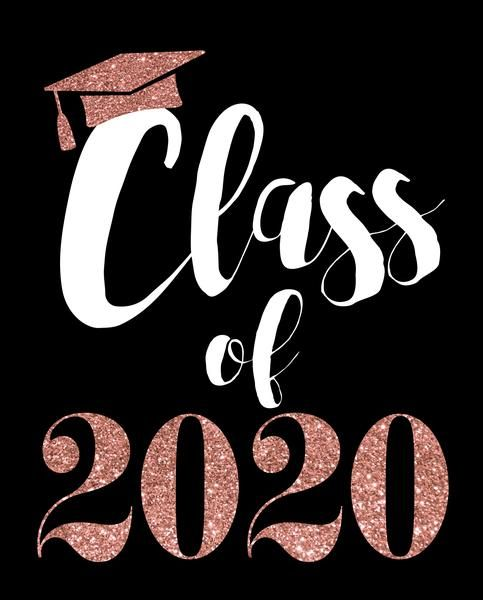 Photo of Class of 2020 Black and Rose Gold Glitter Graduation Printable Party Decorations