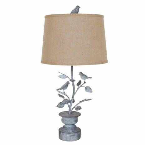 Oxidized Metal Spring Planter With Birds Farmhouse Table Lamp Burlap Shade Nature Inspired