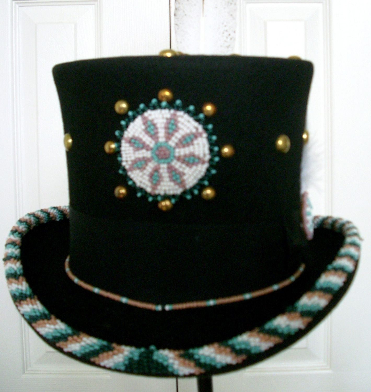 Beaded Top Hat Native American Indian. 225.00, via Etsy