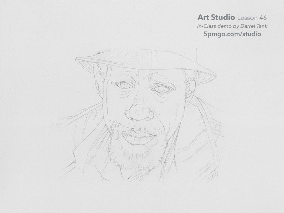 Part i of a portrait drawn from start to finish by darrel tank for the art