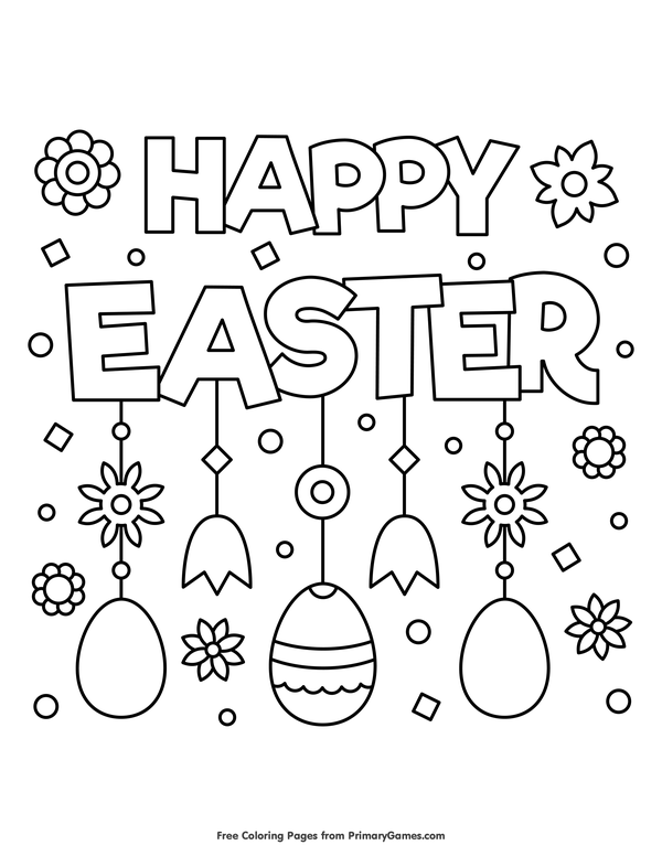Happy Easter Coloring Page • FREE Printable eBook Easter