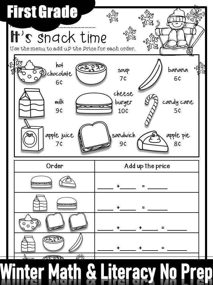 Photo of Winter Math and Literacy No Prep Printables First Grade