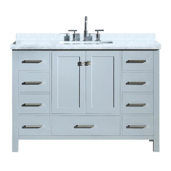 Ariel Cambridge 49 In Bath Vanity In Grey With Marble Vanity Top In Carrara White With White Basin A049scwrvogry The Home Depot In 2020 Bathroom Vanity Bathroom Sink Vanity Single Bathroom Vanity