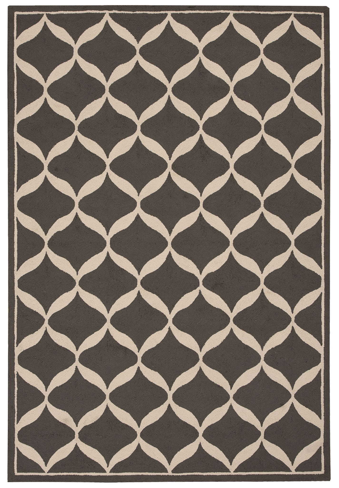 Nourison Decor Grey White Area Rug DER06 GRYWT (Rectangle)