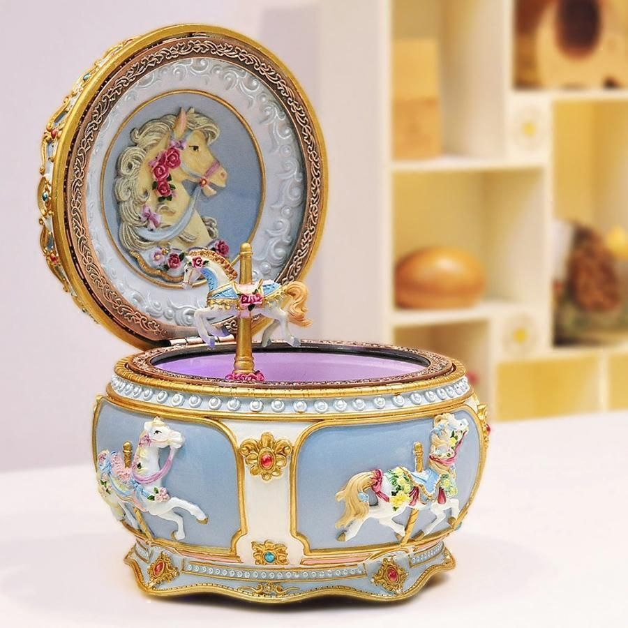 Classic French Carousel Horse Music Box With LED Flash